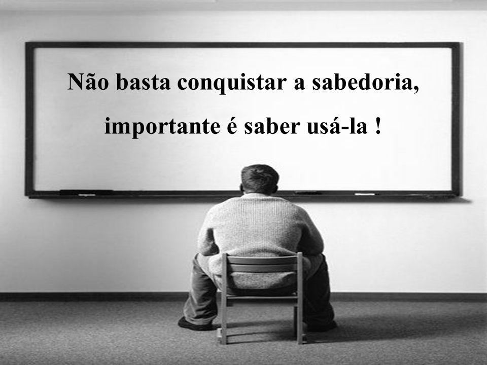 Não basta conquistar a sabedoria, importante é saber usá-la !