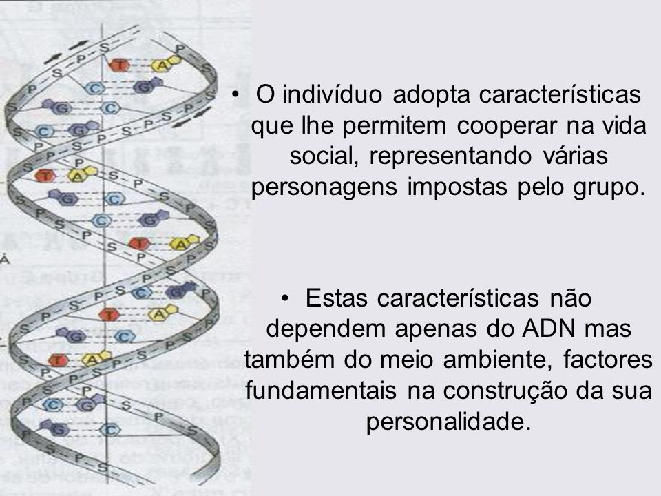 O indivíduo adopta características que lhe permitem cooperar na vida social, representando várias personagens impostas pelo grupo.
