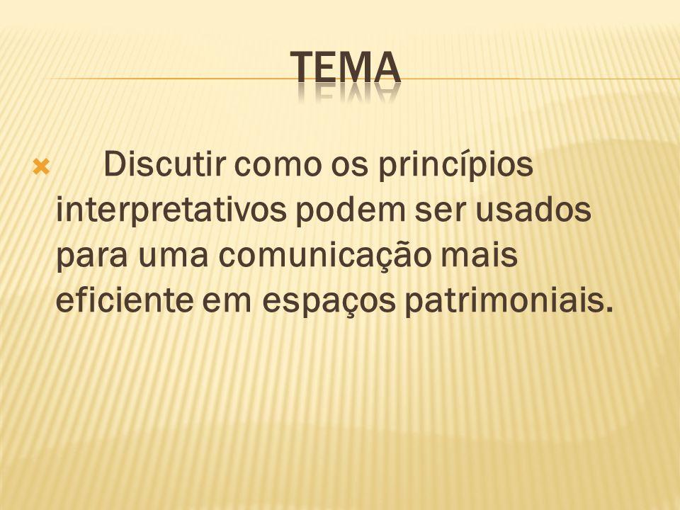 TEMA Discutir como os princípios interpretativos podem ser usados para uma comunicação mais eficiente em espaços patrimoniais.
