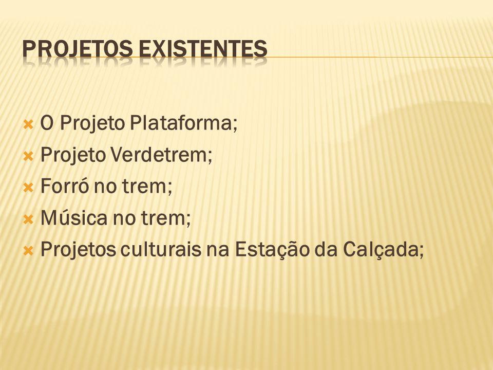 PROJETOS EXISTENTES O Projeto Plataforma; Projeto Verdetrem;