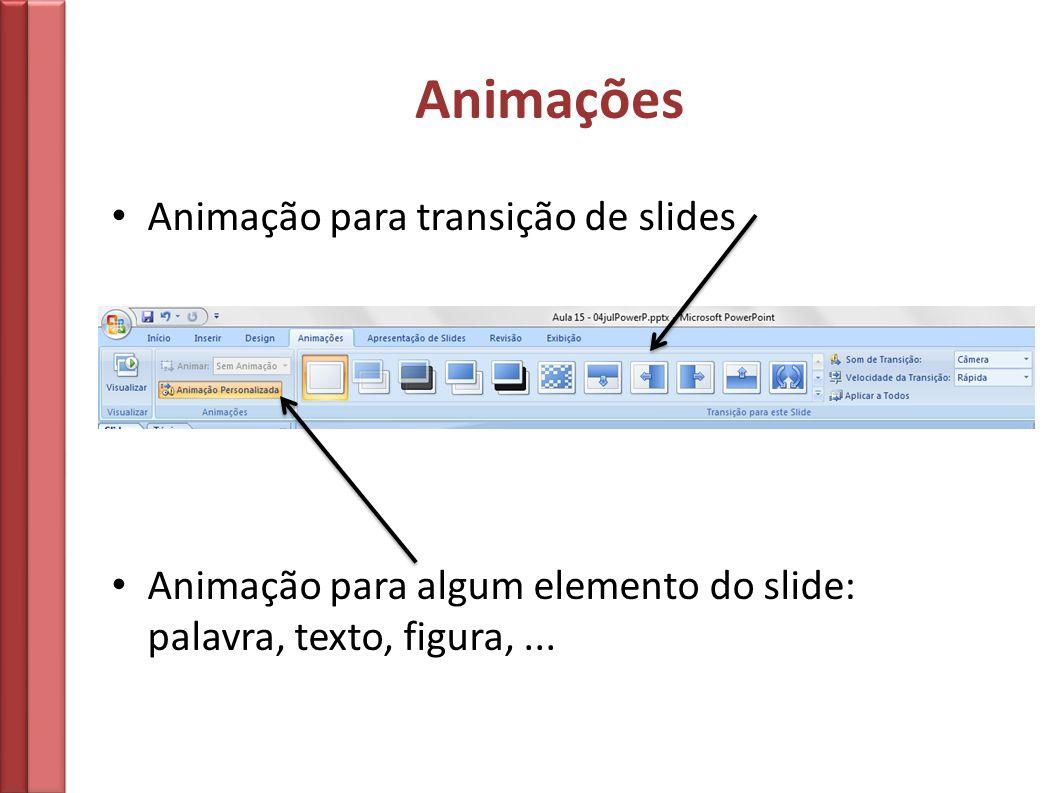 Animações Animação para transição de slides
