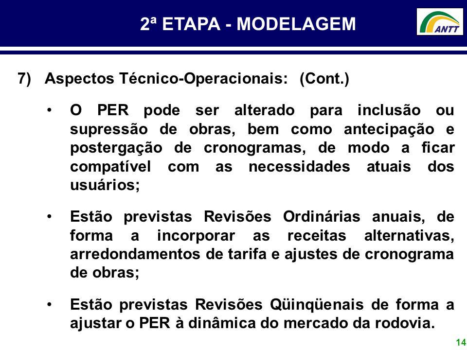 2ª ETAPA - MODELAGEM Aspectos Técnico-Operacionais: (Cont.)