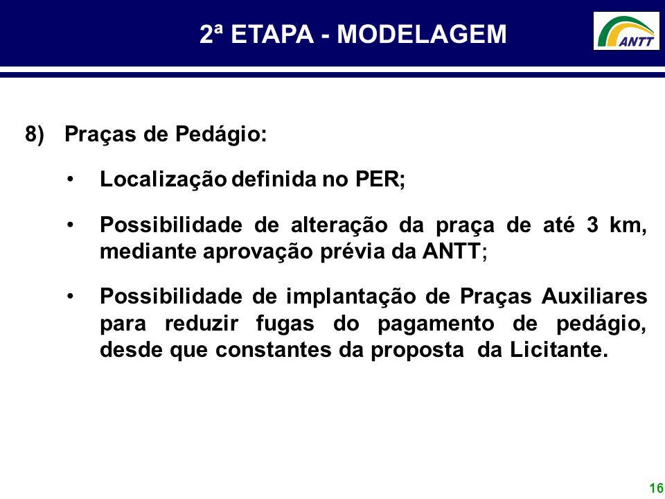2ª ETAPA - MODELAGEM Praças de Pedágio: Localização definida no PER;