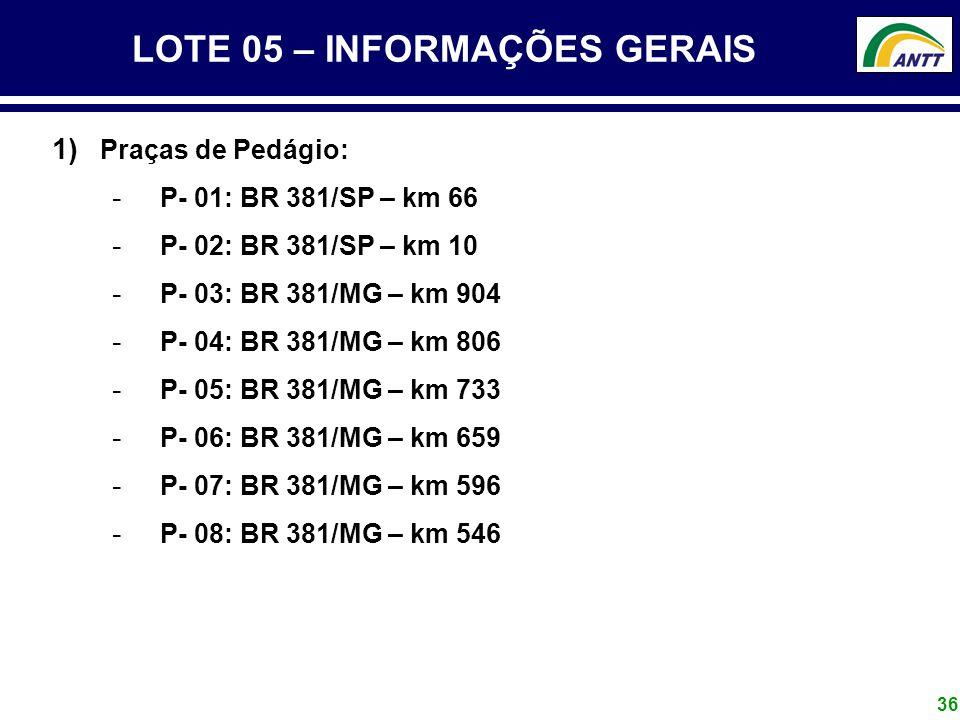 LOTE 05 – INFORMAÇÕES GERAIS