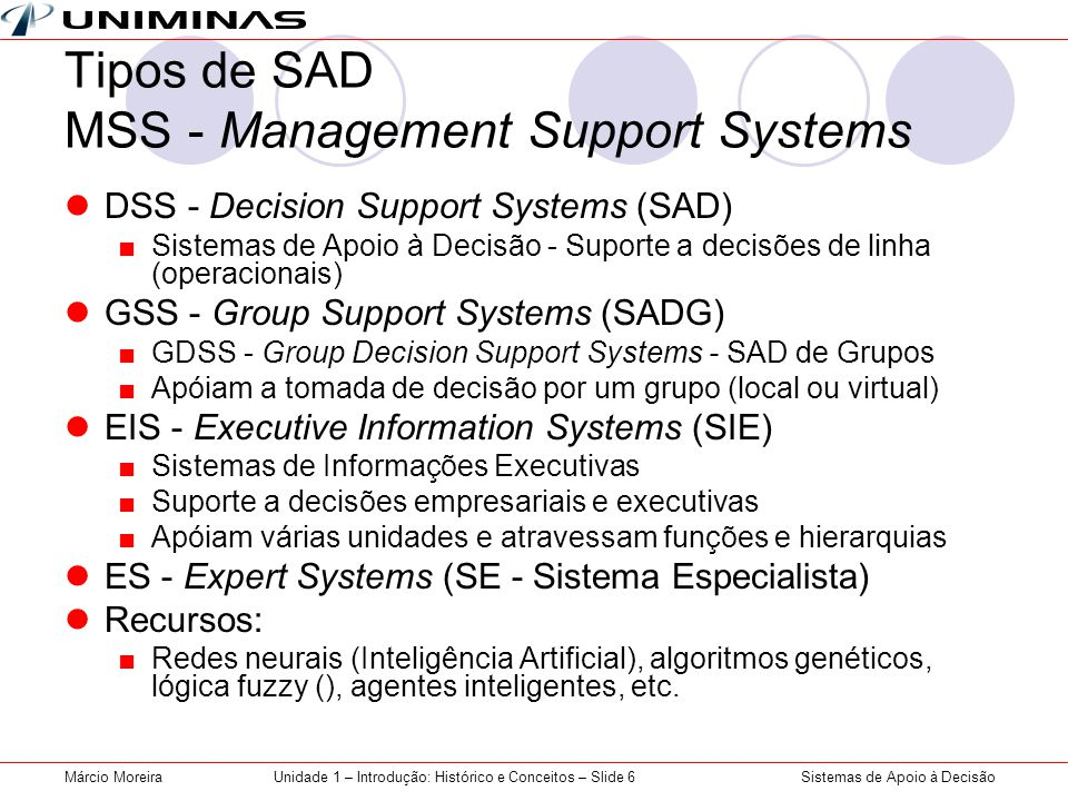 Tipos de SAD MSS - Management Support Systems