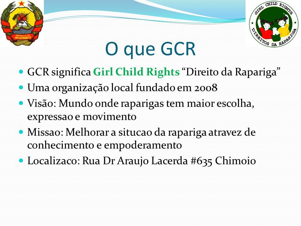 O que GCR GCR significa Girl Child Rights Direito da Rapariga