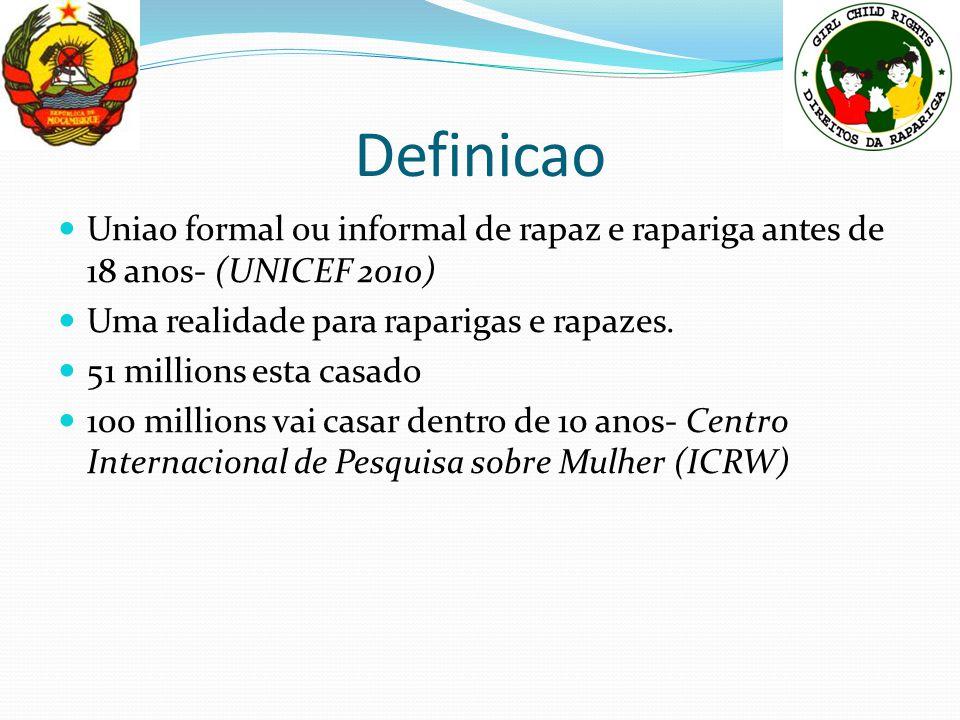 Definicao Uniao formal ou informal de rapaz e rapariga antes de 18 anos- (UNICEF 2010) Uma realidade para raparigas e rapazes.