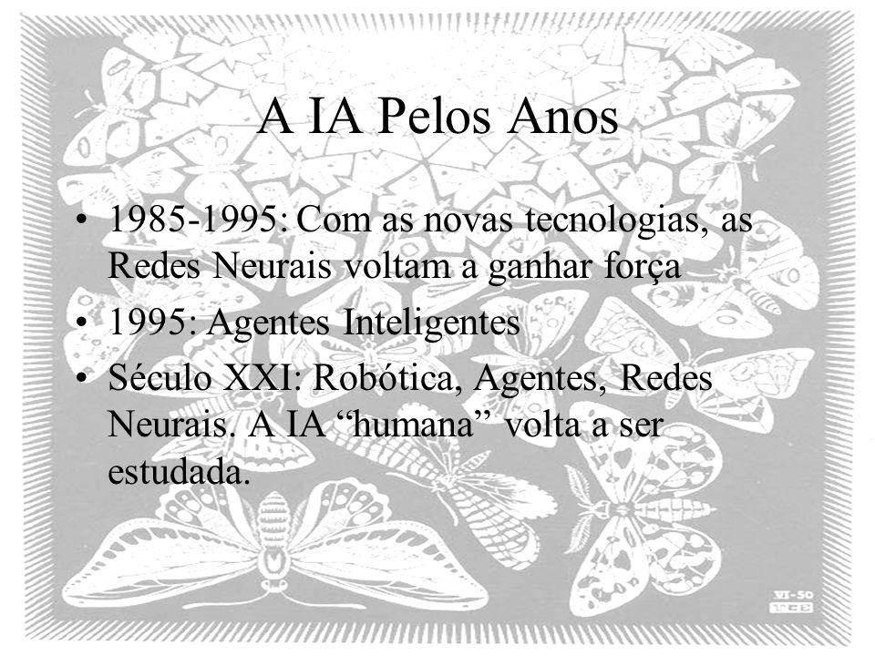 A IA Pelos Anos 1985-1995: Com as novas tecnologias, as Redes Neurais voltam a ganhar força. 1995: Agentes Inteligentes.
