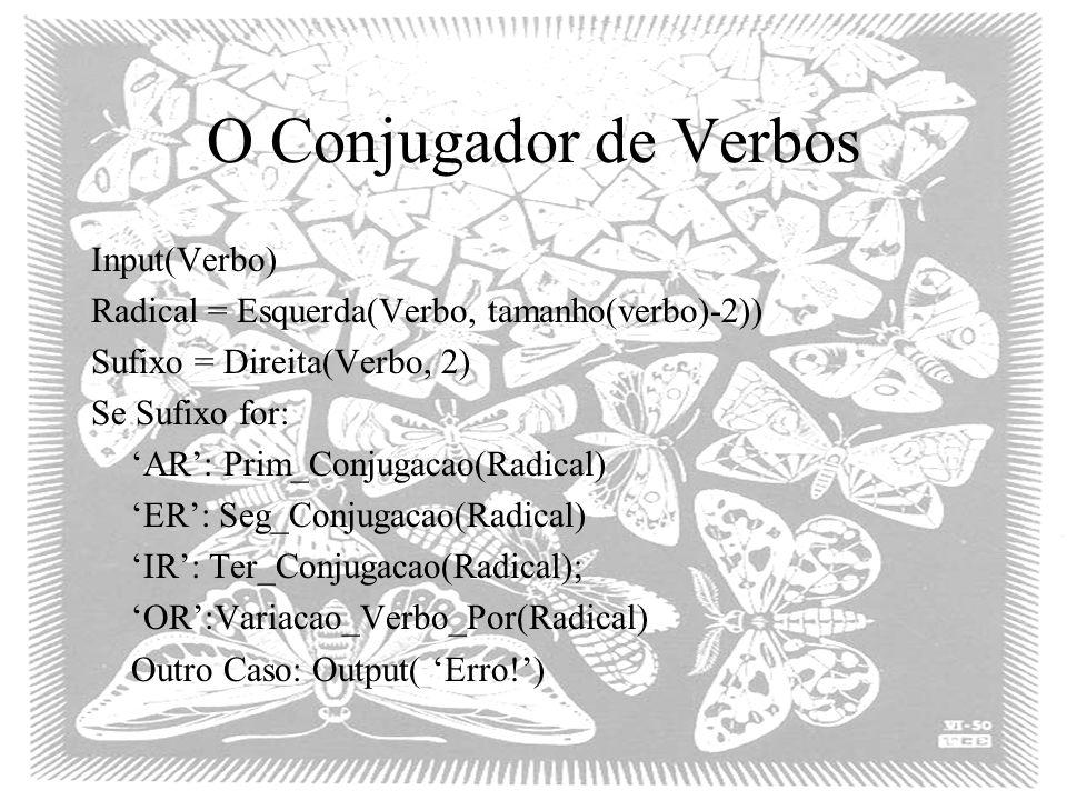 O Conjugador de Verbos Input(Verbo)