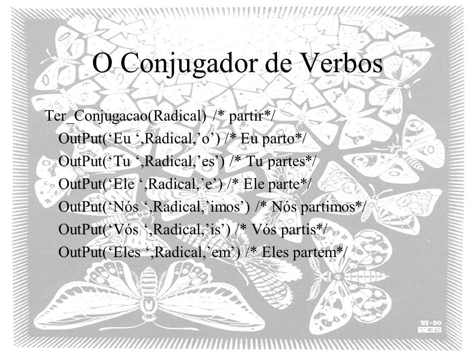 O Conjugador de Verbos Ter_Conjugacao(Radical) /* partir*/