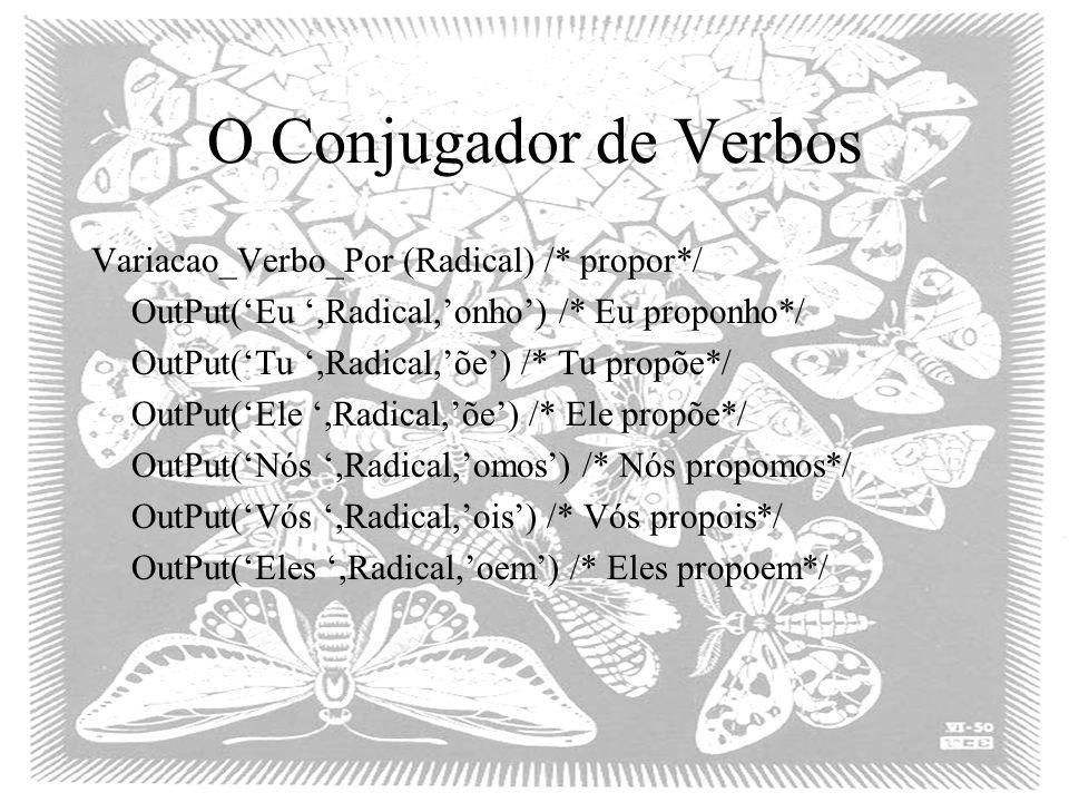 O Conjugador de Verbos Variacao_Verbo_Por (Radical) /* propor*/