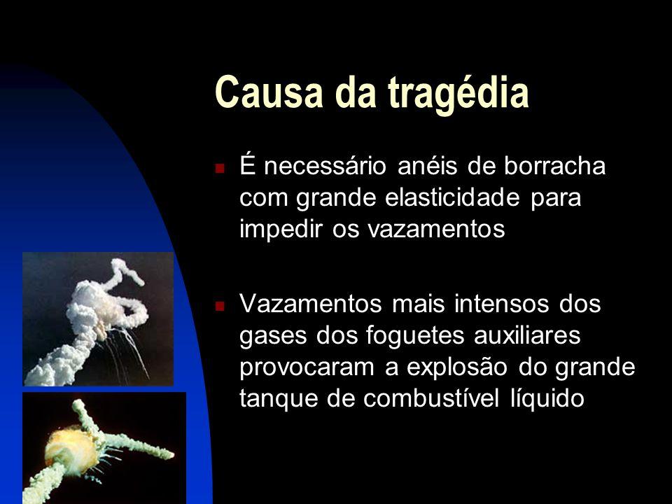 Causa da tragédia É necessário anéis de borracha com grande elasticidade para impedir os vazamentos.
