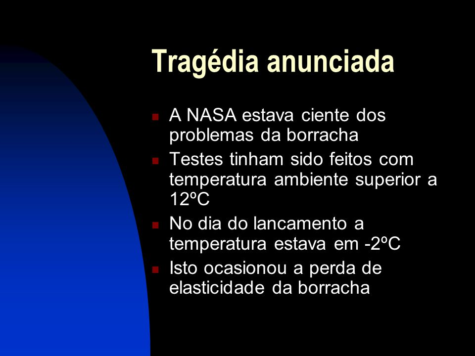 Tragédia anunciada A NASA estava ciente dos problemas da borracha