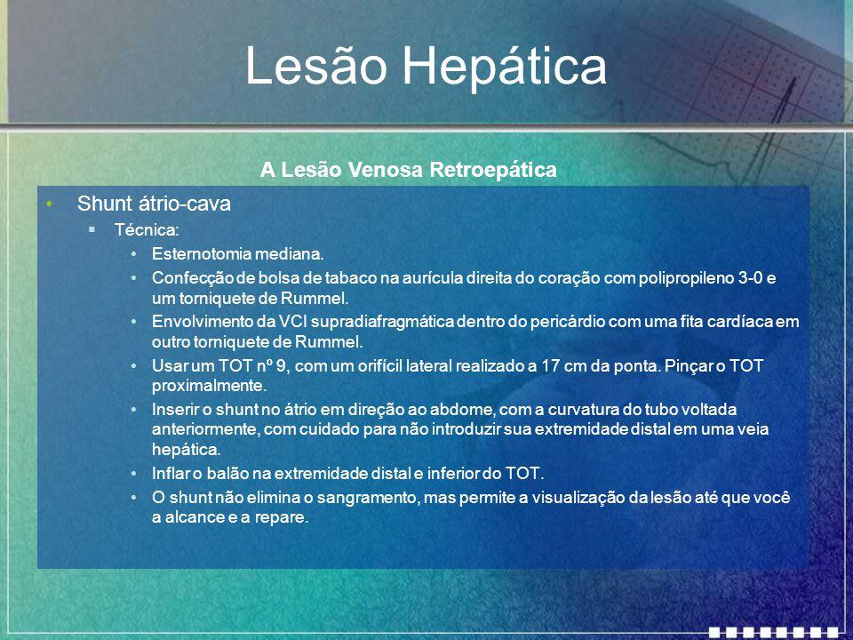 Lesão Hepática A Lesão Venosa Retroepática Shunt átrio-cava Técnica: