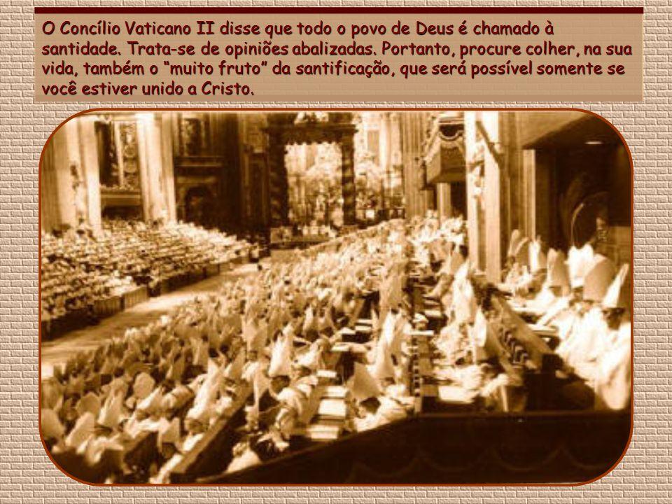 O Concílio Vaticano II disse que todo o povo de Deus é chamado à santidade.