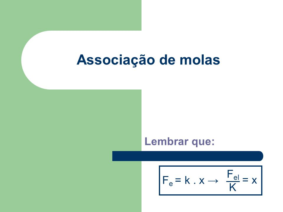 Associação de molas Lembrar que: Fe = k . x → Fel K = x