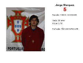 Jorge Marques 5 Posição: MEDIO / AVANÇADO Idade: 25 anos Altura: 1,75