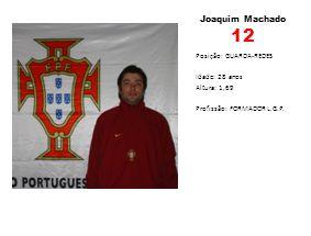 Joaquim Machado 12 Posição: GUARDA-REDES Idade: 28 anos Altura: 1,69