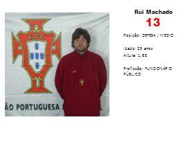Rui Machado 13 Posição: DEFESA / MEDIO Idade: 25 anos Altura: 1,65