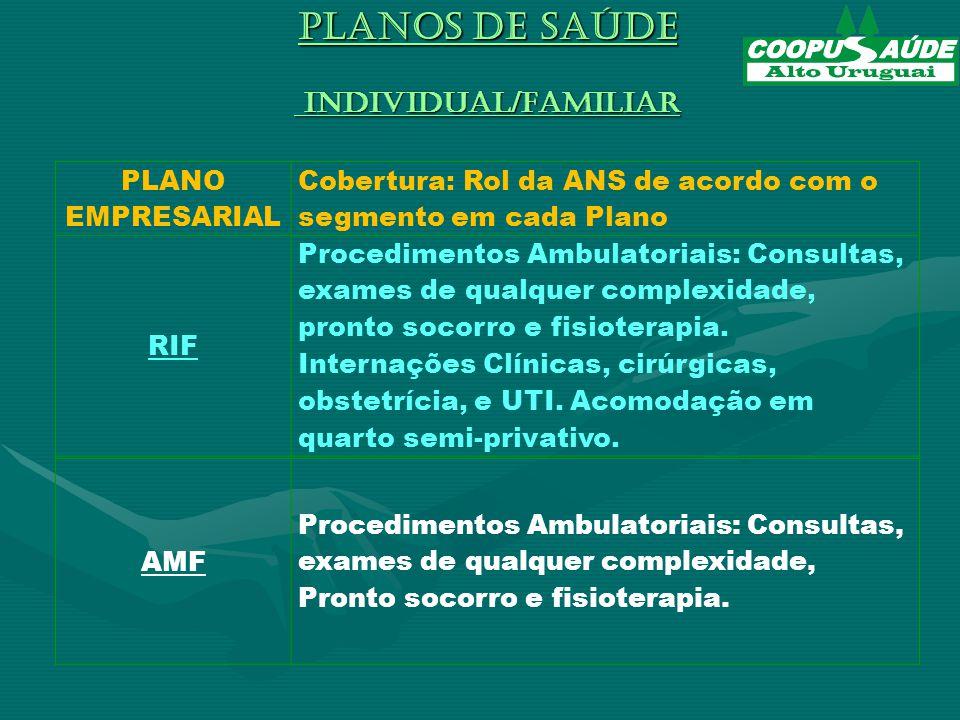 PLANOS DE SAÚDE INDIVIDUAL/FAMILIAR PLANO EMPRESARIAL