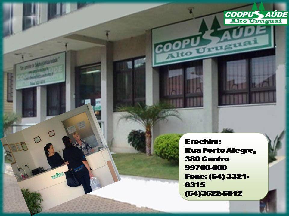 Erechim: Rua Porto Alegre, 380 Centro 99700-000 Fone: (54) 3321-6315 (54)3522-5012