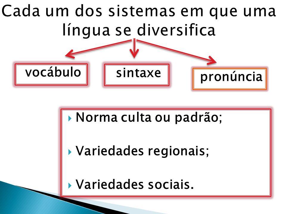 Cada um dos sistemas em que uma língua se diversifica