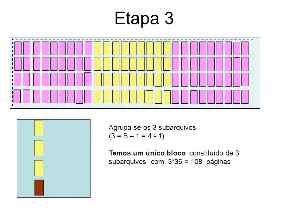 Etapa 3 Agrupa-se os 3 subarquivos (3 = B – 1 = 4 - 1)
