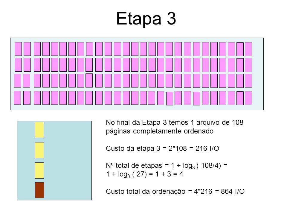 Etapa 3 No final da Etapa 3 temos 1 arquivo de 108 páginas completamente ordenado. Custo da etapa 3 = 2*108 = 216 I/O.
