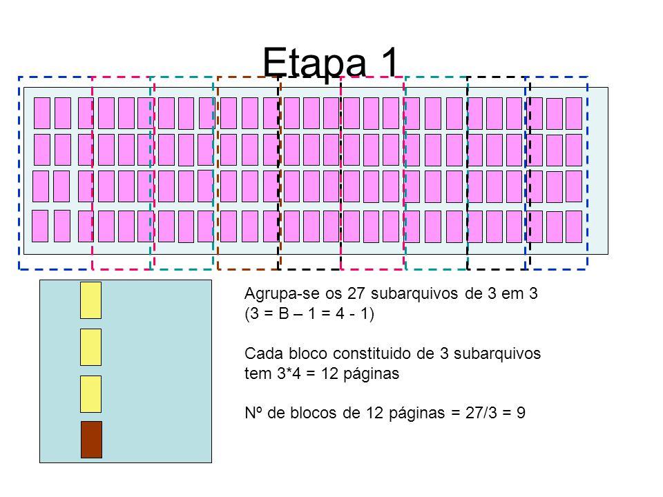 Etapa 1 Agrupa-se os 27 subarquivos de 3 em 3 (3 = B – 1 = 4 - 1)