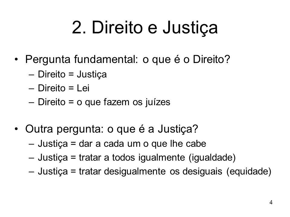 2. Direito e Justiça Pergunta fundamental: o que é o Direito
