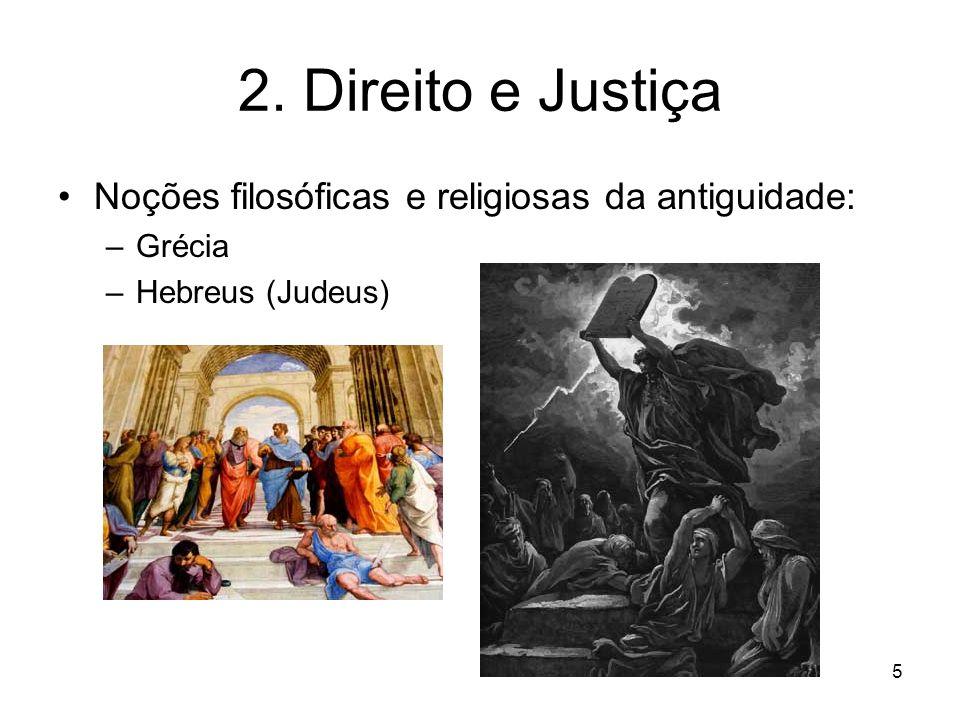 2. Direito e Justiça Noções filosóficas e religiosas da antiguidade: