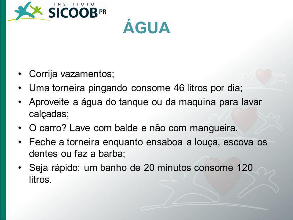 ÁGUA Corrija vazamentos;