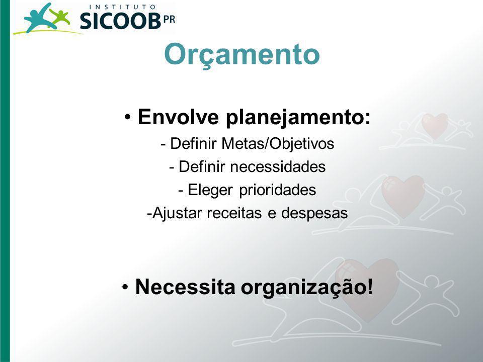 Orçamento • Envolve planejamento: • Necessita organização!
