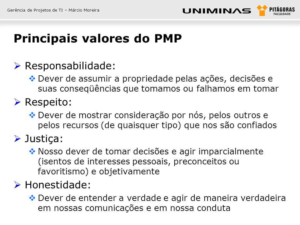 Principais valores do PMP