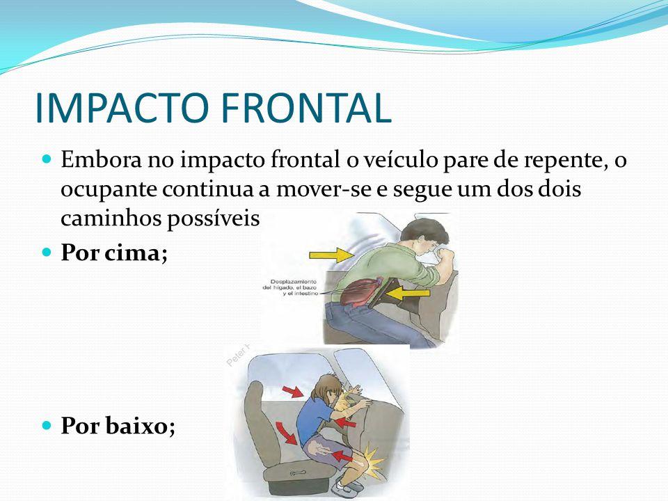 IMPACTO FRONTAL Embora no impacto frontal o veículo pare de repente, o ocupante continua a mover-se e segue um dos dois caminhos possíveis:
