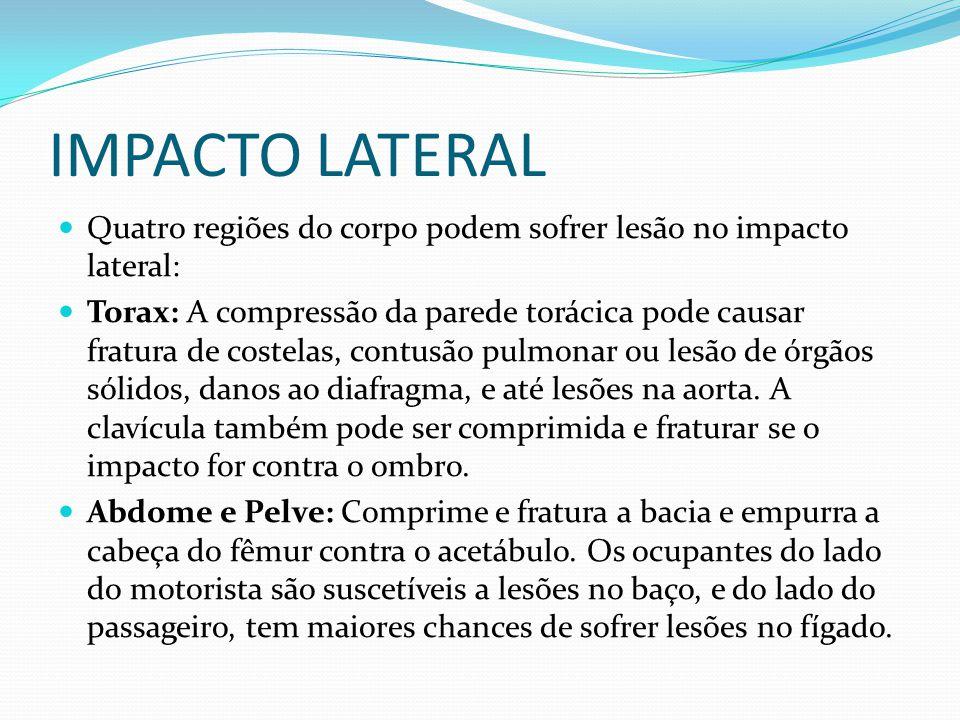 IMPACTO LATERAL Quatro regiões do corpo podem sofrer lesão no impacto lateral: