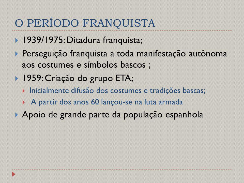 O PERÍODO FRANQUISTA 1939/1975: Ditadura franquista;