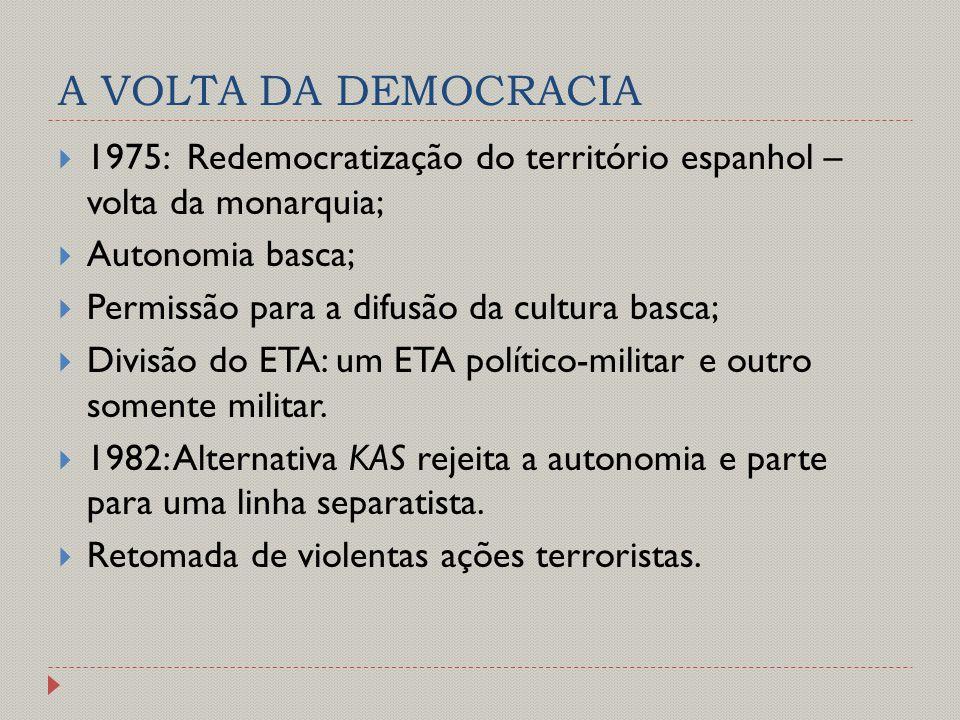A VOLTA DA DEMOCRACIA 1975: Redemocratização do território espanhol – volta da monarquia; Autonomia basca;