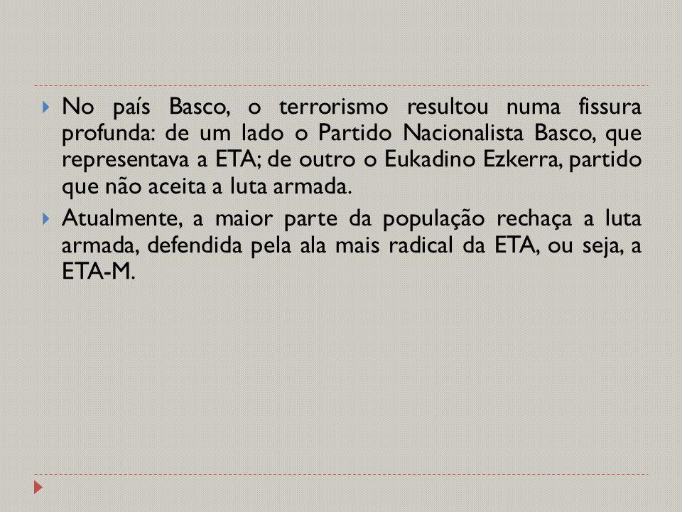 No país Basco, o terrorismo resultou numa fissura profunda: de um lado o Partido Nacionalista Basco, que representava a ETA; de outro o Eukadino Ezkerra, partido que não aceita a luta armada.