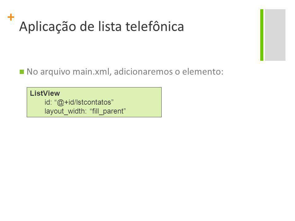 Aplicação de lista telefônica
