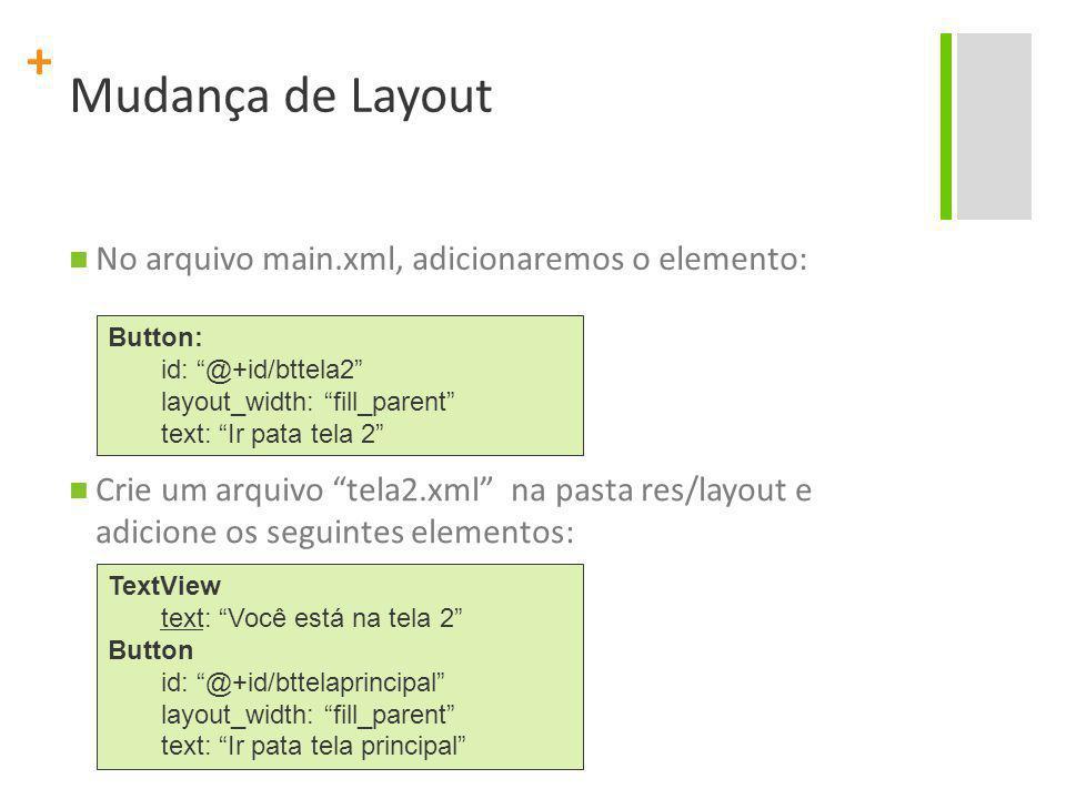 Mudança de Layout No arquivo main.xml, adicionaremos o elemento: