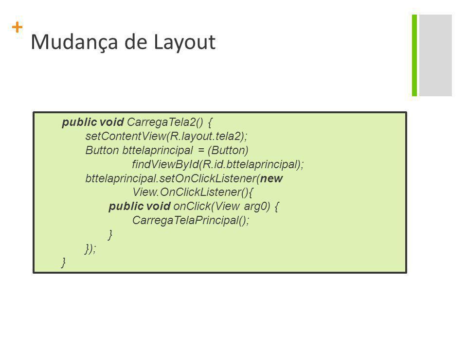 Mudança de Layout public void CarregaTela2() {