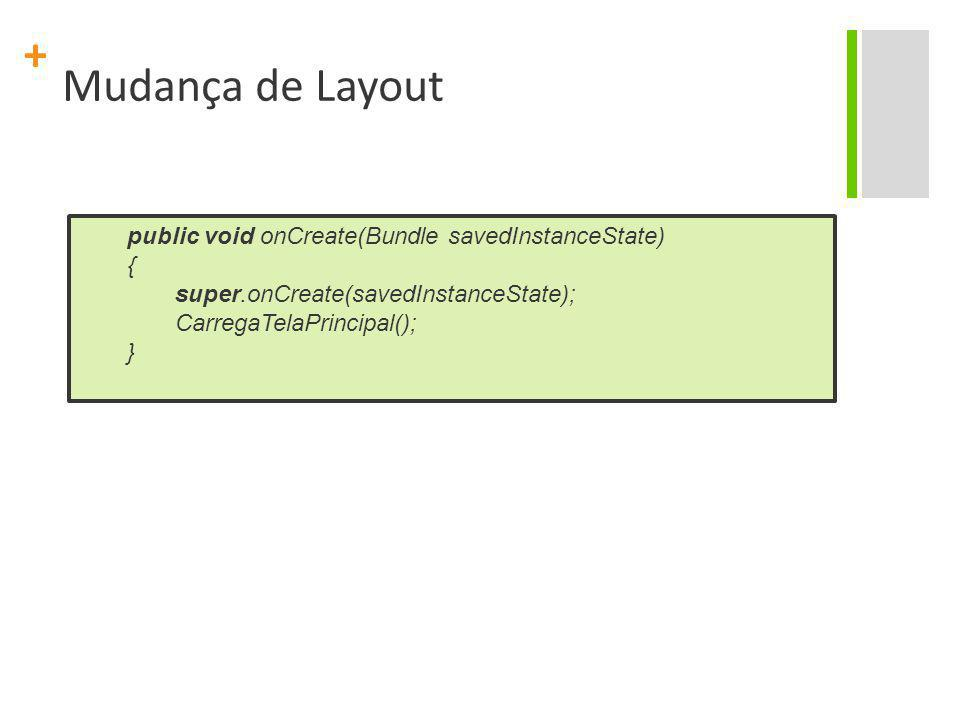 Mudança de Layout public void onCreate(Bundle savedInstanceState) {