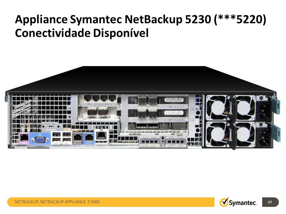 Appliance Symantec NetBackup 5230 (***5220) Conectividade Disponível