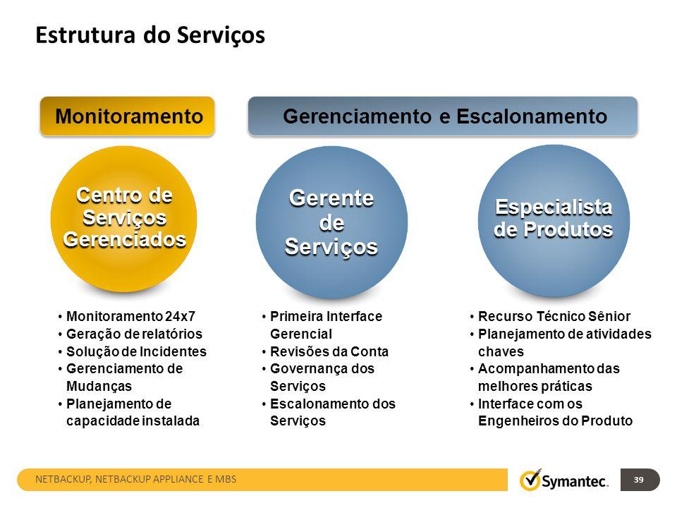 Estrutura do Serviços Gerente de Serviços Monitoramento
