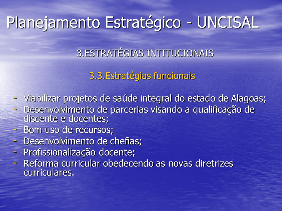 Planejamento Estratégico - UNCISAL