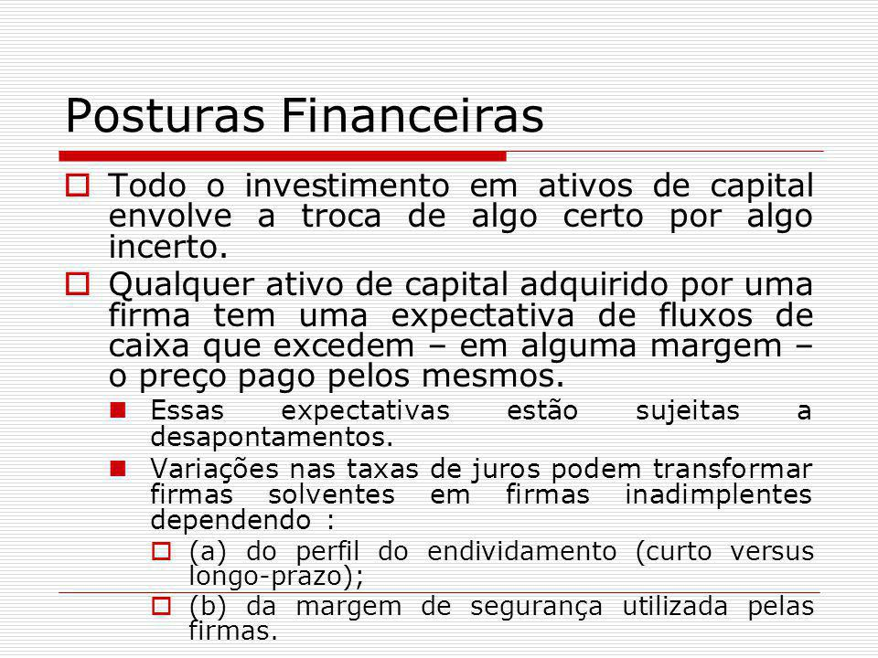 Posturas Financeiras Todo o investimento em ativos de capital envolve a troca de algo certo por algo incerto.
