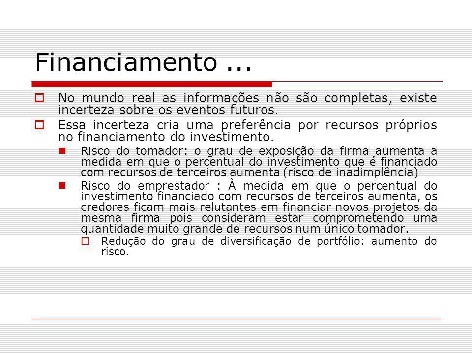 Financiamento ... No mundo real as informações não são completas, existe incerteza sobre os eventos futuros.