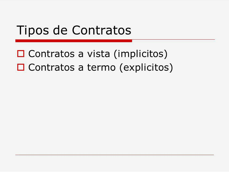 Tipos de Contratos Contratos a vista (implicitos)