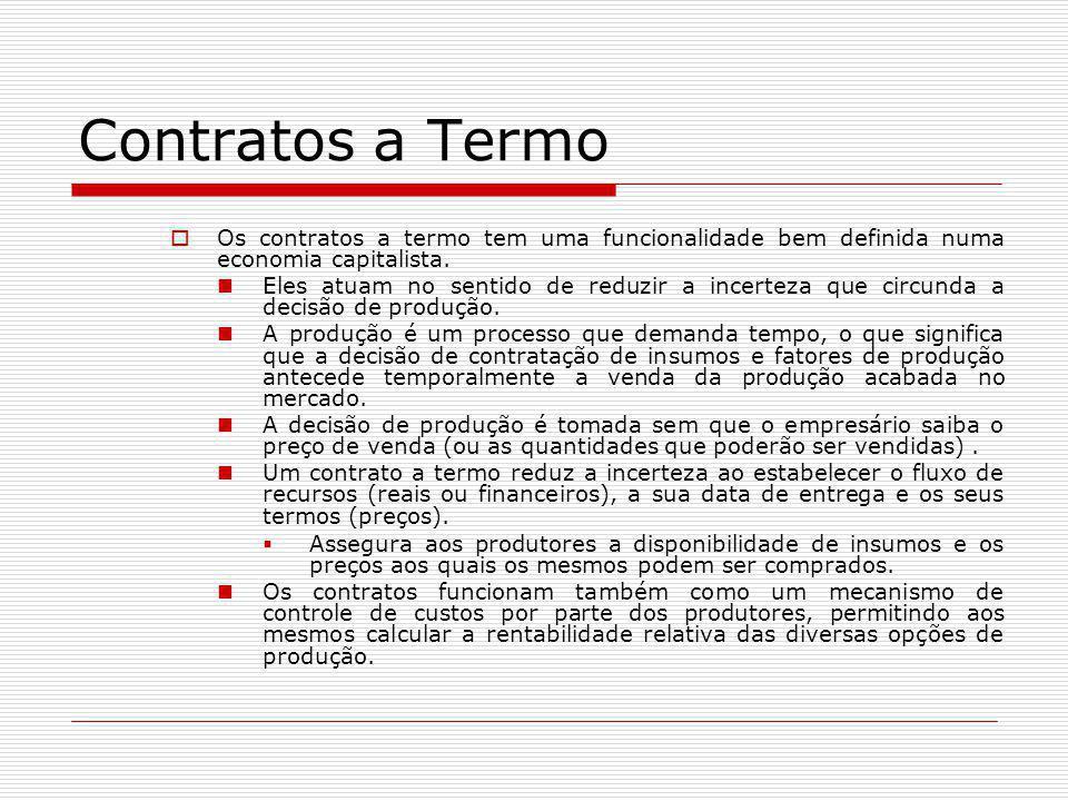 Contratos a Termo Os contratos a termo tem uma funcionalidade bem definida numa economia capitalista.